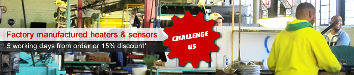 Challenge Us! Factory manufactured heaters & sensors, 5 working days from order or 15% discount!