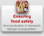 Ensuring food safety: from production to transport, storage & preparation.